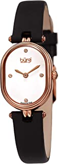 Burgi Petite Designer Women's Watch – Satin Over Genuine Calfskin Leather Strap, 4 Genuine Diamond Markers, Glossy Dial, Polished Oval Bezel - BUR229