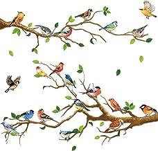 4 Pegatinas de Pared de Pájaros en Ramas de Jardín Calcomanías de Pared Extraíbles de Pájaros en Árbol Decoración de Pared...