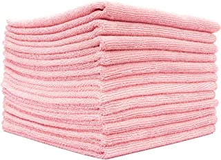 The Rag Company (12-Pack 16 in. x 16 in. Commercial Grade All-Purpose Microfiber Highly Absorbent, LINT-Free, Streak-Free Cleaning Towels (Pink)