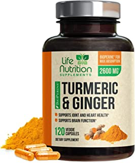 Turmeric Curcumin Highest Potency 95% Standardized with BioPerine and Ginger 2600mg - Black Pepper for Best Absorption, Made in USA, Best Vegan Joint Pain Relief, Turmeric Ginger Pills - 120 Capsules