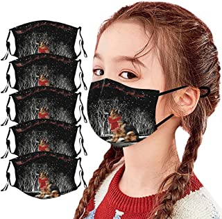 Padaleks 5PC Children Face Mouth Christmas Print Madks with Filter Pocket, Reusable Warm Windproof for Outdoor Party