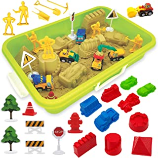 Construction Moving Sand Kit - Tractor Sand Play Set - 2.2 lbs Play Sand 6 Mini Construction Trucks 10 Mold Set 6 Working ...