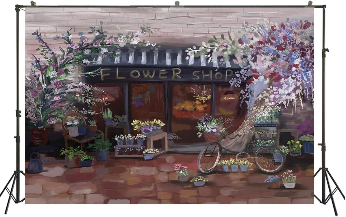 Spring Flower Shop Backdrop Watercolor Oil Painting Cottage Background Party Banner Kids Baby Photo Studio Portrait Photoshoot