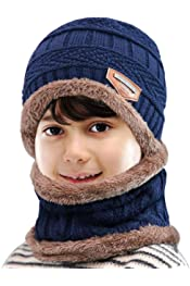 Petrunup 2//3Pcs Boys Beanie Hat and Loop Scarf Set Warm Winter Hats Knitted for Girls Kids Children