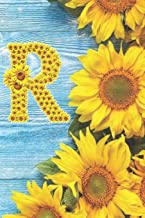 R: Sunflower Personalized Initial Letter R Monogram Blank Lined Notebook,Journal and Diary with a Rustic Blue Wood Background