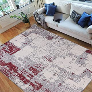 HR-Abstract Rugs, Luxury Livingroom Carpet Modern Contemporary Ultra-Soft, Shed Free Stain Resistant Easy Clean Red/Silver/Gray/White (5' x 7')