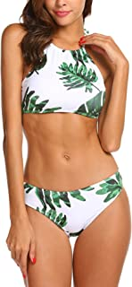 Ekouaer Womens Forest Leaves Printing High Neck Halter Bikini Set Swimsuit XS-XXL