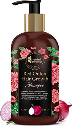 Oriental Botanics Red Onion Hair Growth Shampoo, 300ml - With Biotin, Argan Oil, Caffeine, Protein, 27 Hair Boosters Controls Hair Loss & Promotes Healthy Hair Growth