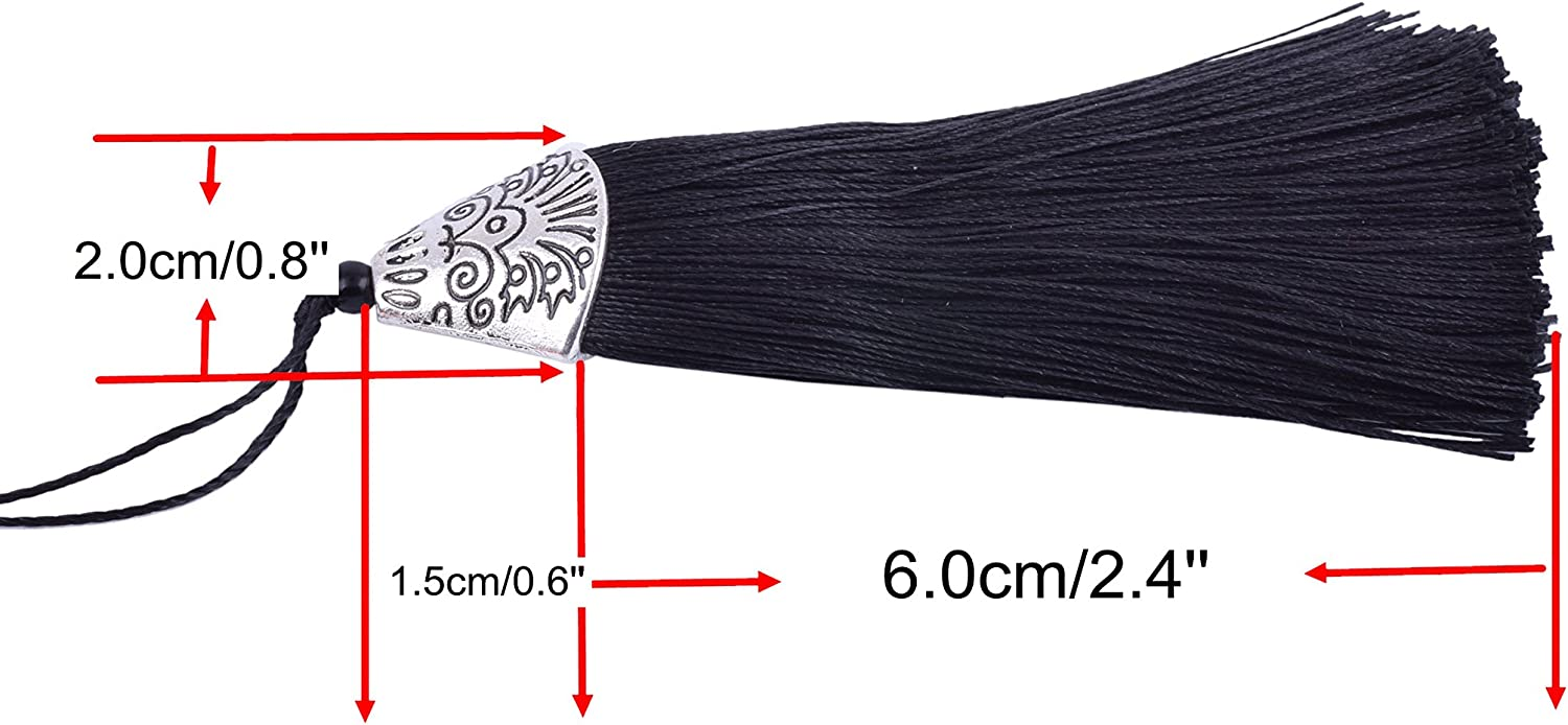 KONMAY 20pcs 2.4 6.0cm BlackCraft Tassels with Carved Antique Silver Cap