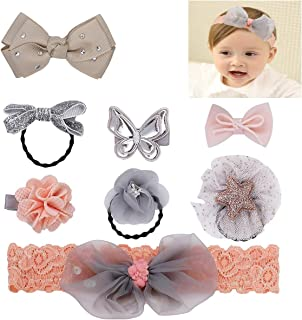 Loveliome Toddlers Baby Girls Headbands Hair Clips Tie, Floral Bow Fabric Hair Accessories for Kids,Set of 8(Light Orange)
