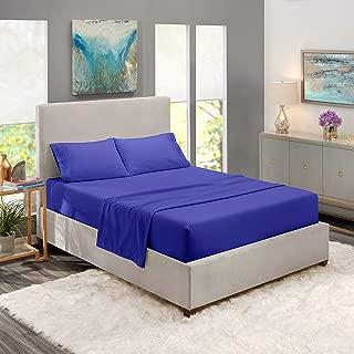JS Sanders Collection Stunning Decor 1500 Thread Count King 4pc Bed Sheet Set Egyptian Deep Pocket Royal Blue.