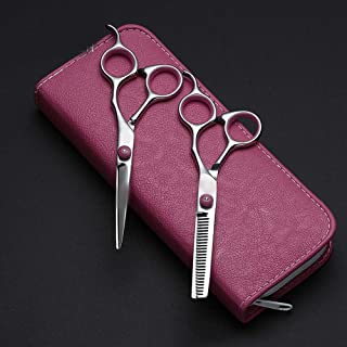Professional Barber Women's Flat + Tooth Scissors Set, Professional Combination Family Set Scissors (Color : Pink)