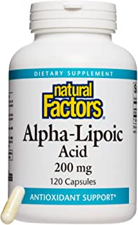 Natural Factors, Alpha-Lipoic Acid 200 mg, Antioxidant Support to Help Maintain Glucose Levels Already in a Normal Range, ...
