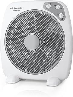 Orbegozo BF 0140 Ventilador Box Fan con 3 velocidades, difusor rotativo, función temporizador, tamaño aspas 40 cm, 60 W, Negro