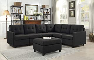 DAZONE Modular Sectional Sofa Assemble 7-Piece Modular Sectional Sofas Bundle Set Cushions, Easy to Assemble Left & Right Arm Chair,Armless Chair, Corner Chair,Ottomans Table Charcoal