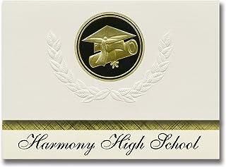 شعارات التخرج هارموني للمدرسة العليا (صندل كبير، TX) من Signature Announcements نمط التخرج، عبوة أساسية مكونة من 25 قبعة و...