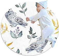 Vit uggla gult blad, barn rund matta polyester överkast matta mjuk pedagogisk tvättbar matta barnkammare tipi tält lekmatta