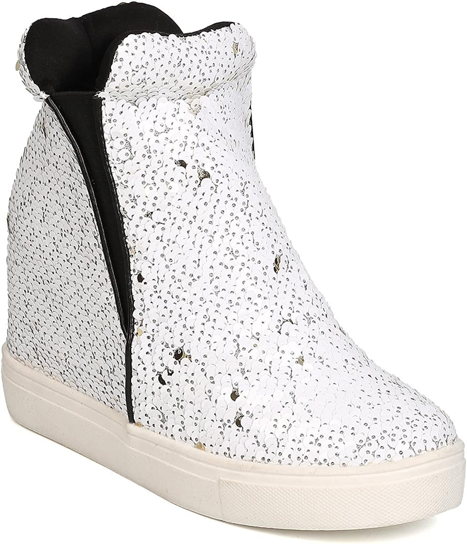 Cape Robbin Uneek-1 Women Sequin High Top Hidden Wedge Sneaker,White,5.5
