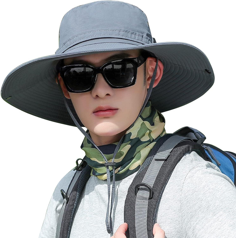 Men Wide Brim Fishing Sun Protection Hat Unisex Garden Lawn Yard Work Bucket Cap