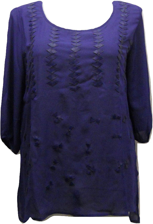 WAPI Women's Sheer Plus Size Top Pleather-Trim Scoop-Neck