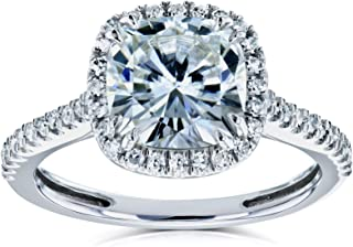 Cushion Moissanite Halo Engagement Ring 2 1/4 CTW 14k White Gold