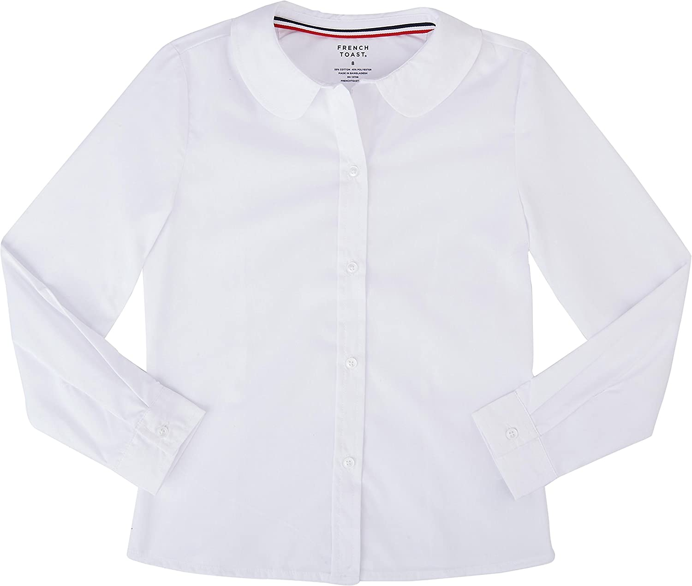 Girls Long Sleeve Peter Pan Poplin Blouse Uniform French Toast Sz 2T-20 White