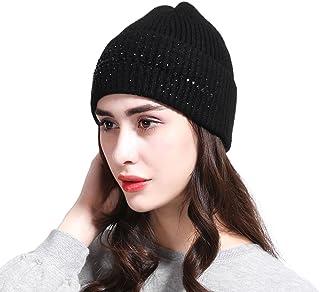 JOOWEN Women's Wool Knit Fold Over Beanie Embellished with Rhinestones Winter Hat