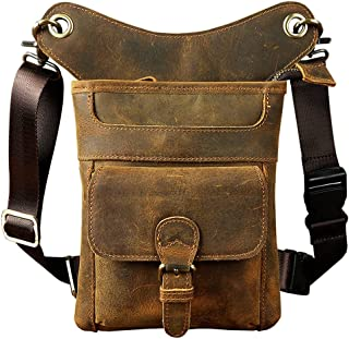 Genda 2Archer Men's Leather Bumbag Waist Belt Drop Leg Cross Over Bag 6.7*1.9*8.3inch Brown