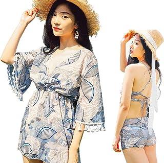 Fout 水着 レディース ビキニ タンキニ UVカット 体型カバー 大人 セパレーツ 葉の柄 女性水着 3点セット(ワンピース+ブラ+ショートパンツ)