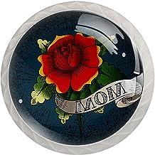 ATOMO 4 Stks Kast Knoppen voor Lade Dressoir Keuken Kasten Garderobe Badkamer Tattoo Art Rose Bloem