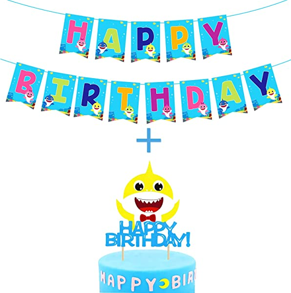 Baby Little Shark Happy Birthday Banner Party Supplies For Kids Baby Shower Party Decorations