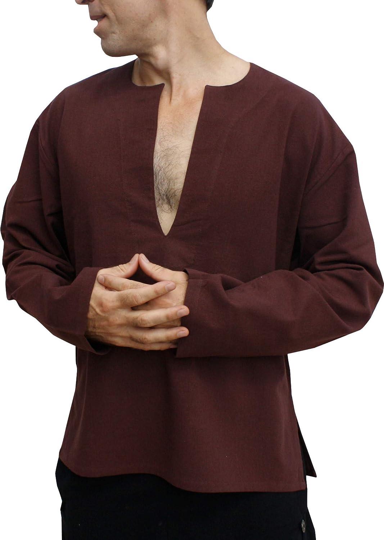 Raan Pah Muang Light Cotton Open Breast Long Sleeve Renaissance Horsemans Shirt