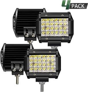 TURBO SII LED Pods Light Bar 4 Inch 72w Driving Fog Off Road Lights Quad Row Waterproof Spot Beam LED Cubes Lights for Truck Jeep Boat ATV UTV Boat, 1 Year Warranty, 4 Pack