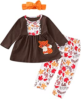 Thanksgiving Outfits Kids Toddler Baby Girls Turkey Print Dress Shirt+Floral Pants Clothes 3Pcs Fall Clothes Set