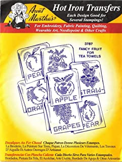 Fancy Fruit for Tea Towels Aunt Martha's Hot Iron Embroidery Transfers