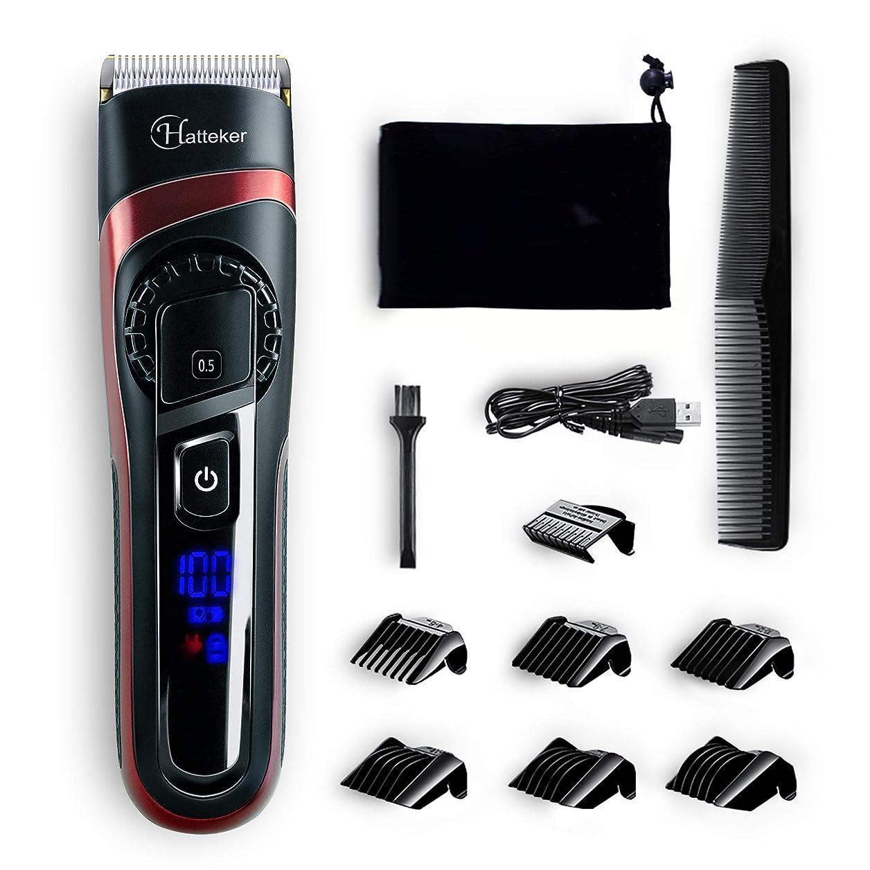 遷移特権的スキッパーHATTEKER 電動バリカン ヘアカッター ヒゲトリマー USB充電式 刈り高さ調節可 アタッチメント付き 0.5-24mm対応 水洗い可 散髪セット 充電·交流式 業務用·家庭用·子供用