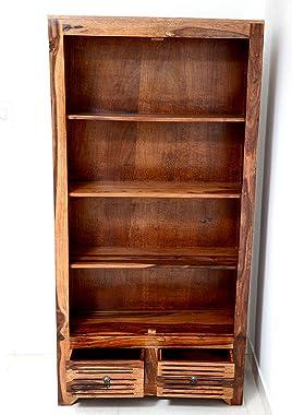 Modern FurnitureSolid Sheesham Wood Book Shelves with Drawers & Book Racks Storage for Living Room, Home & Office (N