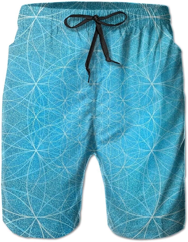 Beach Pants Revolving Flower Men's Workout Gym Short Shorts Pockets Sweatpants Waist Tension Design