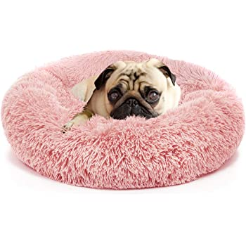 nononfish Anxiety Dog Bed and Grey Dog Calming Blanket Set Comfy Donut Cuddler Pet Bed for Orthopedic Relief, Improved Sleeping, Waterproof Bottom