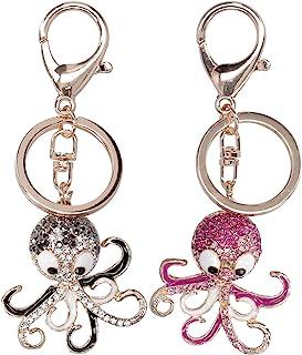 HERCHR 2 pièces Porte-clés Pieuvre, Porte-clés étincelant à la Mode Porte-clés en métal Bling Porte-clés Strass Sac Sac à ...