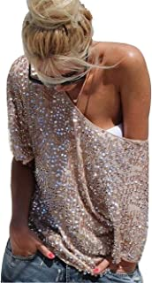 Women's Off Shoulder Sequin Glitter Sparkle Party Top Blouse Shirt Plus Size with Sleeve