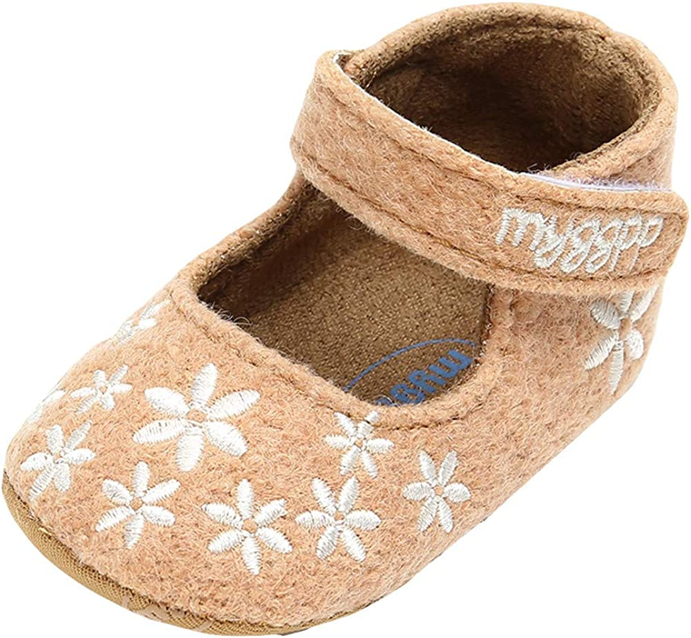 XUANOU Baby Girl Cotton Embroidery Princess Shoes Fashion Toddler First Walkers Shoes