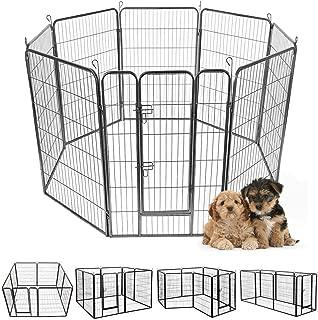 Giantex 16/8 Panel Pet Playpen with Door, Foldable Dog Exercise Pen, Portable Configurable Cat Chicken Rabbit Fence Outdoor Outdoor, Metal Pet Exercise Fence Barrier Kennel