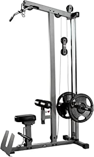 XMark Heavy Duty LAT Pulldown and Low Row Cable Machine with High and Low Pulley Stations and Flip-Up Footplate, Optional Upgraded Accessory Package