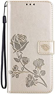 Mylne Wallet Case for Samsung Galaxy A12,PU Leather Magnetic Rose Flower Pattern Flip Protective Cover with Kickstand Card...