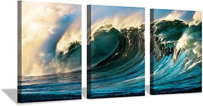 Ocean Wave Canvas Wall Art: Seascape Sunset Artwork Painting Print on Canvas for Bedroom (16'' x 12'' x 3 Panels)
