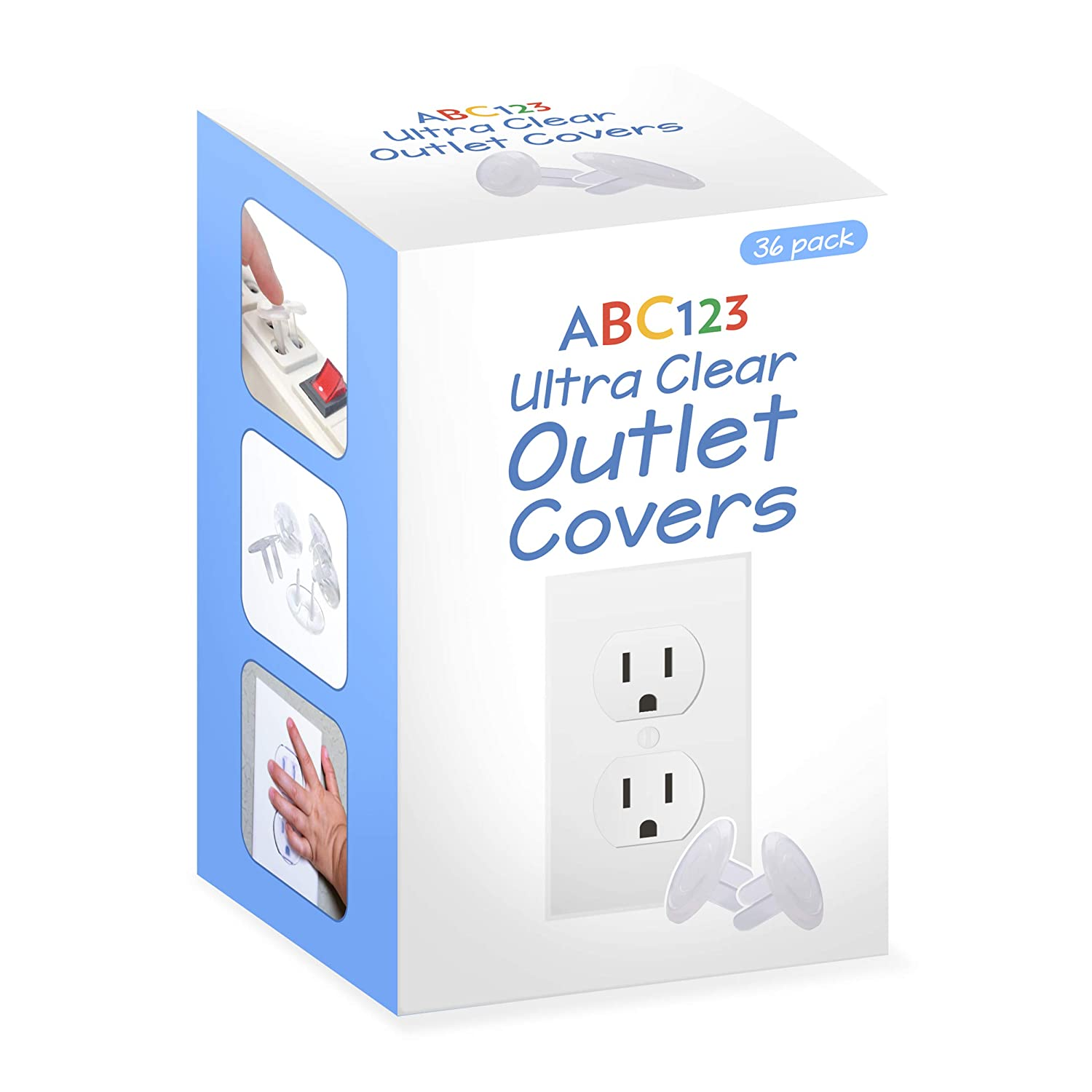 ABC123 - Outlet Plug Covers (36 Pack) Clear Child Proof Electrical Outlets Protector - Wall Socket Protector for Kids