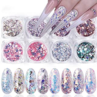 Holographic Nail Glitter Sequins, Nail Art Supplies Mermaid Nail Flakes 3D Shiny Acrylic Nails Powder Dust Nail Art Decora...