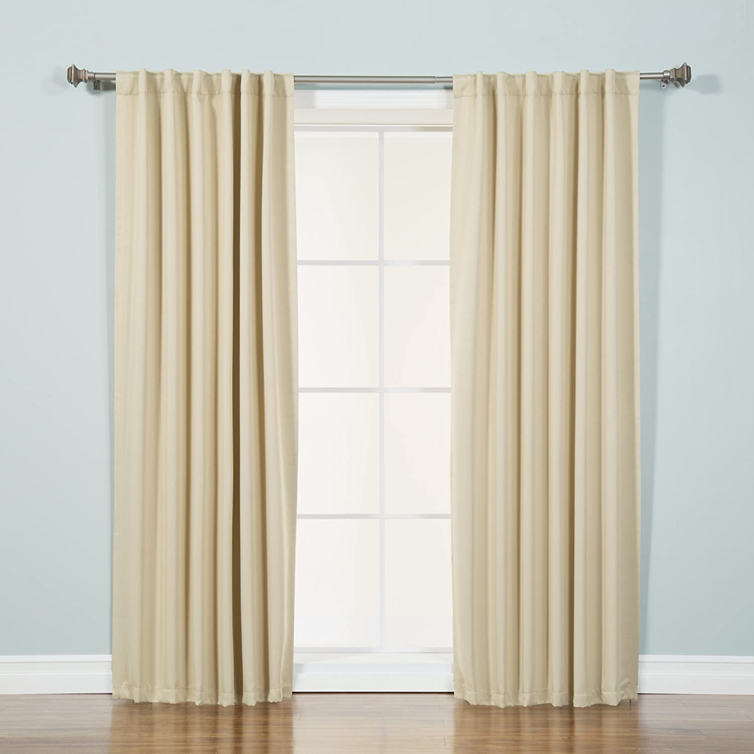 Best Home Fashion Basic Thermal Insulated Blackout Curtains - Back Tab/Rod Pocket - Beige - 52