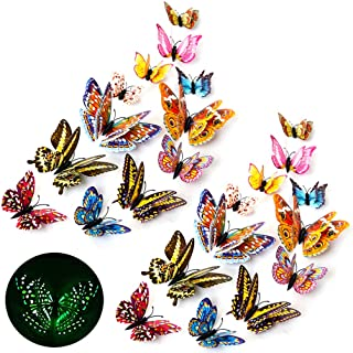 3D Butterfly Wall Stickers Decor 24 Pcs Luminous Colorful Butterfly Wall Decals for Kids Girls Baby Women Bedroom Bathroom...